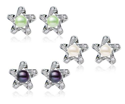 Light Green, White and Black Star Shaped Button Pearl Stud Earrings,18K WG Overlay