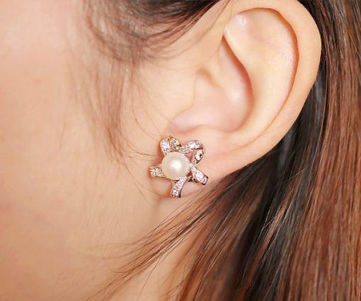 White Star Shaped Button Pearl Stud Earrings,18K WG Overlay