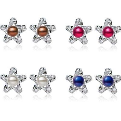 Chocolate, Cranberry, Grey and Navy Blue Star Shaped Button Pearl Stud Earrings,18K WG Overlay