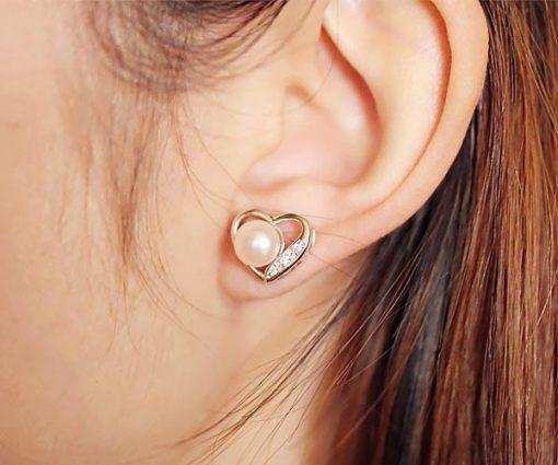 White 7-8mm AA Button Pearl Earrings in Heart Shaped, 18K WG Overlay