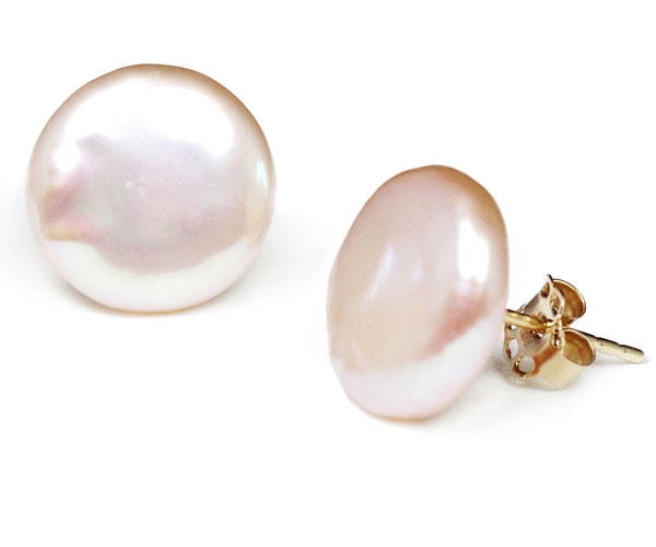 Mauve 11-12mm AAA Coin Pearl Stud Earrings, 14K Solid YG