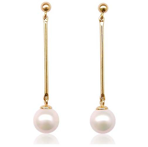 White 7-8mm Round Pearl Earrings, 14K Solid YG