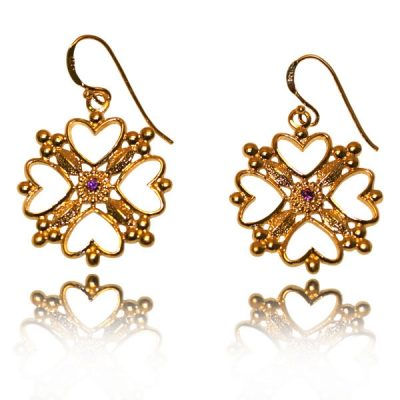 925 SS, 18K YG Overlay Earrings with Hearts