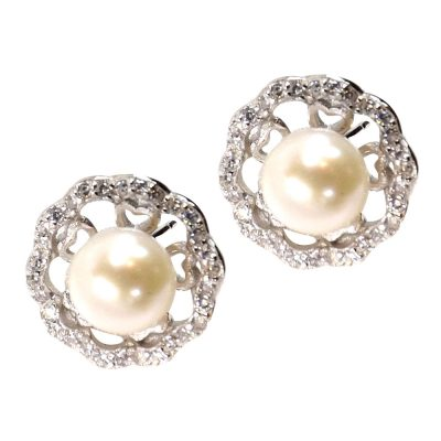 925 large sterling silver pearl earrings