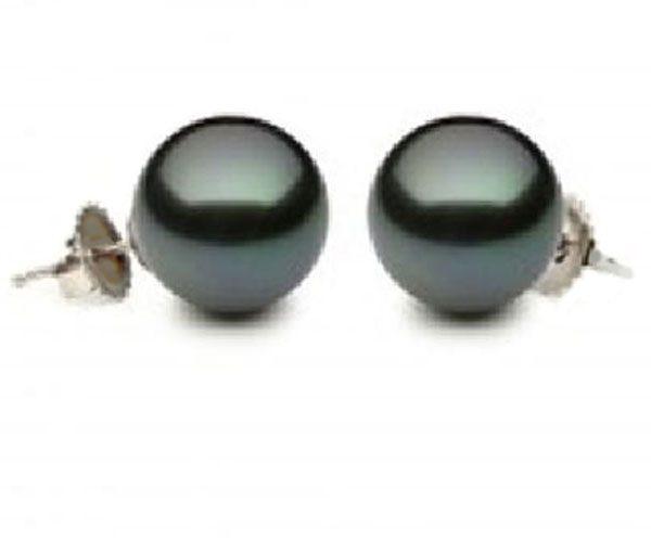 10mm Round 14K Gold Tahitian Pearl Earrings
