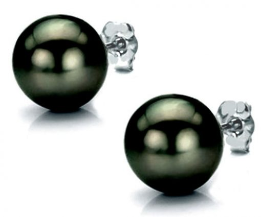11-11.5mm AAA Tahitian Greenish Pearl Studs Earrings 14K White Gold