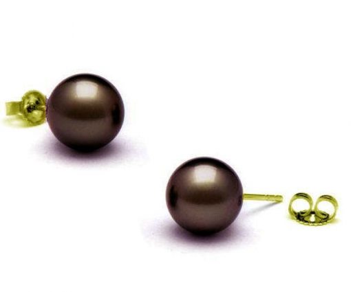 11-11.5mm AAA Tahitian Pearl Earrings 14KYG, Purple Overtone