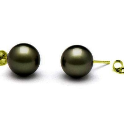 11-11.5mm Tahitian Black Round Pearl Studs Earrings 14KYG