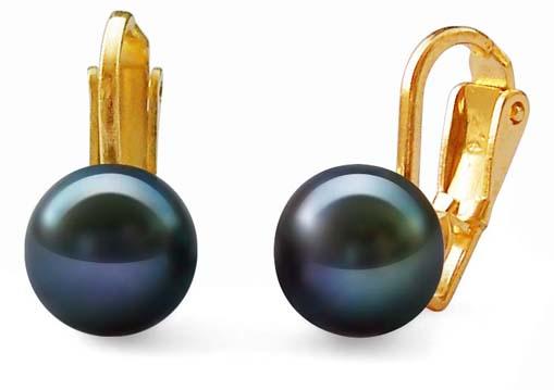 Black Elegant Clip-On Earrings, 18k YG over 925 SS