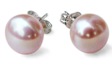 Mauve 9-9.5mm AAA Pearl Earrings 14K Solid YG