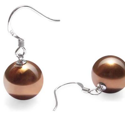 Chocolate 12mm SSS Pearls Dangling Silver Earrings
