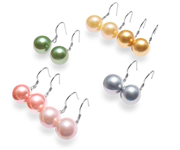 Pale Pink, Rose Pink, Peacock Green, Yellow, Champagne and Grey 12mm SSS Pearls Dangling Silver Earrings