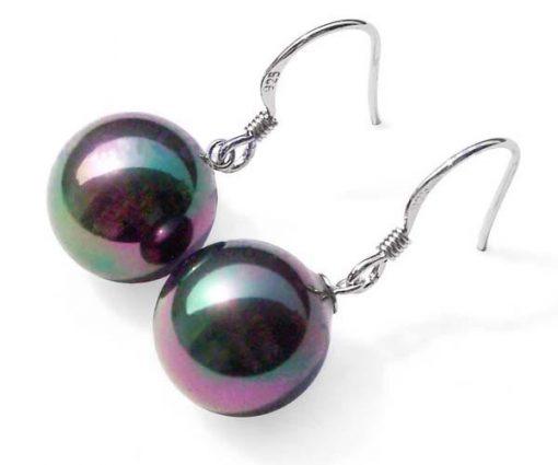 Black 12mm SSS Pearls Dangling Silver Earrings
