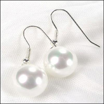 White 12mm SSS Pearls Dangling Silver Earrings