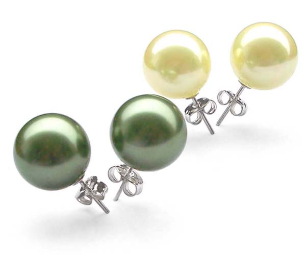 Peacock Green and Light Yellow 8mm to 14mm SSS Pearl 925 SS Studs Earrings