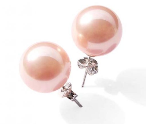Pink 8mm to 14mm SSS Pearl 925 SS Studs Earrings