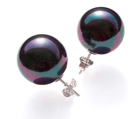 Black 8mm to 14mm SSS Pearl 925 SS Studs Earrings