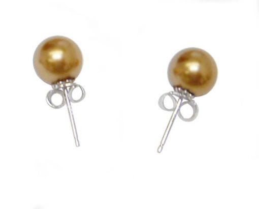 Dark Golden Rod 8mm to 14mm SSS Pearl 925 SS Studs Earrings