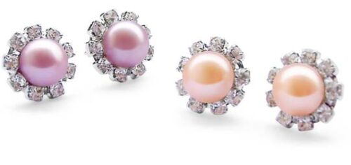 Lavender and Pink 7-7.5mm Real Pearls in Austrian Crystal Earrings