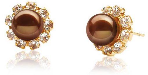Chocolate 7-7.5mm Real Pearls in Austrian Crystal Earrings