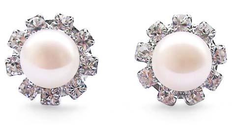 White 7-7.5mm Real Pearls in Austrian Crystal Earrings