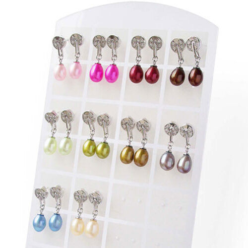 Baby Pink, Hot Pink, Cranberry, Chocolate, Light Green, Spring Green, Dark Golden Rod, Grey, Royal Blue, Champagne 7-8mm Drop Pearl Earrings with Round Circle on the Top, 925 SS