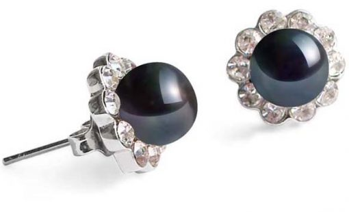 Black 7-8mm Pearl Earrings in CZ Diamonds