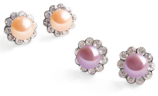Pink and Mauve 7-8mm Pearl Earrings in CZ Diamonds