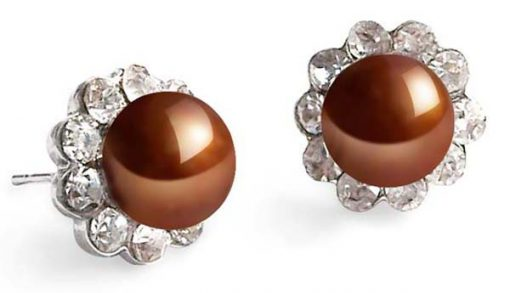 Chocolate 7-8mm Pearl Earrings in CZ Diamonds