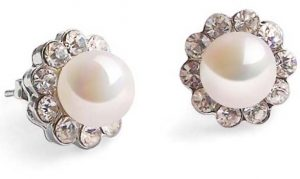 White 7-8mm Pearl Earrings in CZ Diamonds