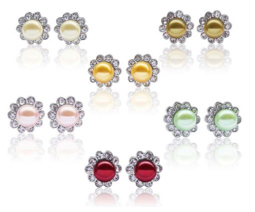 White, Dark Gold, Gold, Pale Pink, Light Green and Cranberry 7-8mm Pearl Earrings in CZ Diamonds