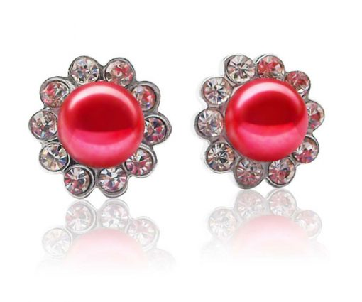 Red 7-8mm Pearl Earrings in CZ Diamonds