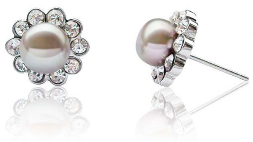 Grey 7-8mm Pearl Earrings in CZ Diamonds