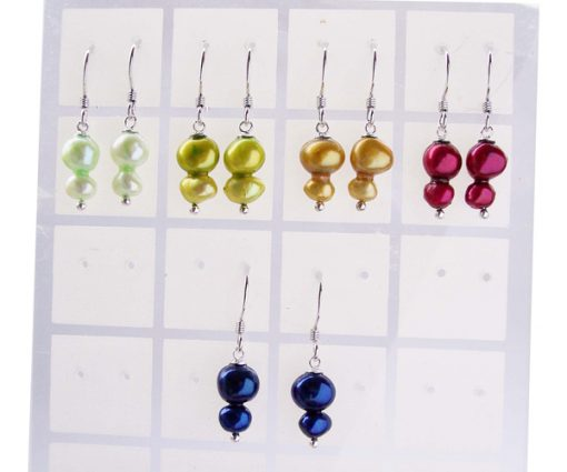Light Green, Olive Green, Dark Golden, Cranberry and Navy Blue SS Baroque 2 Pearl Earrings