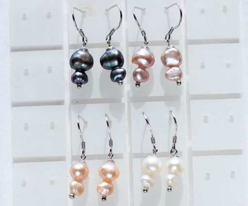 Black, Lavender, Pink and White SS Baroque 2 Pearl Earrings
