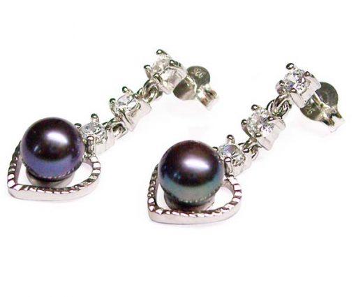 Black Heart Shaped Genuine Pearl Earrings in 925 SS, Austrian Crystals