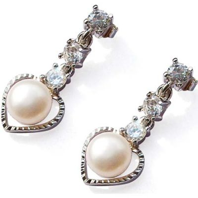 White Heart Shaped Genuine Pearl Earrings in 925 SS, Austrian Crystals