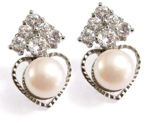 White 6-6.5mm Cultured in Austrian Crystal Earrings, 925 SS