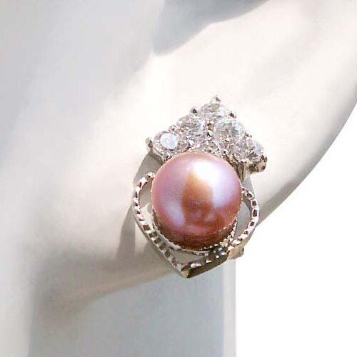 Lavender 6-6.5mm Cultured in Austrian Crystal Earrings, 925 SS