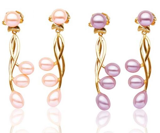 Baby Pink and Lavender Long Dangling 4 Real Pearl Earrings
