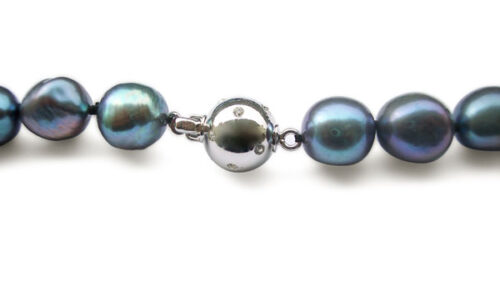 Peacock Green 10-11mm Baroque Pearl Necklace with a Magnetic Clasp, 59 in