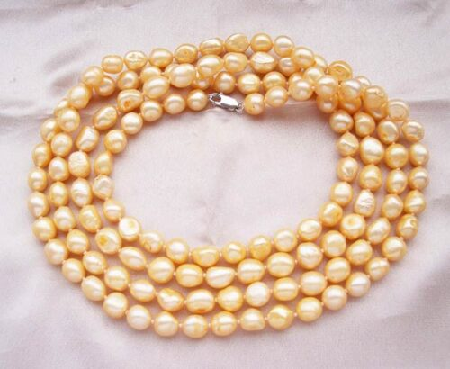 Champagne 10-11mm Baroque Pearl Necklace with a Magnetic Clasp, 59 in