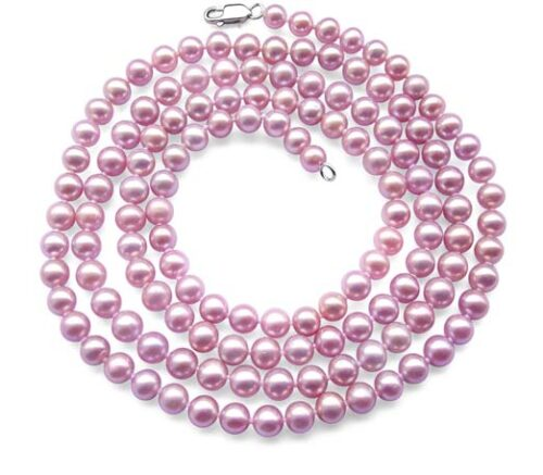 Mauve 6-7mm AA+ 36inch Long Round Pearl Necklace 925 SS