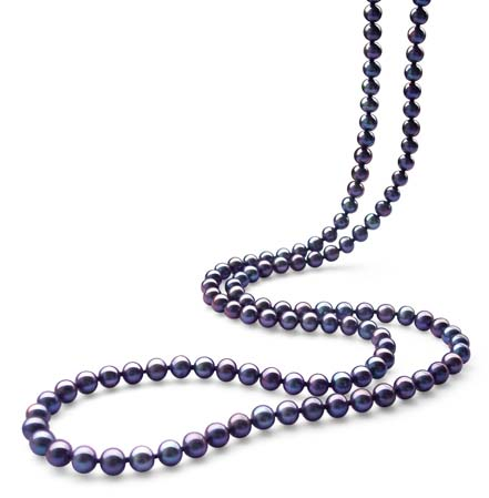 Black 6-7mm AA+ 36inch Long Round Pearl Necklace 925 SS