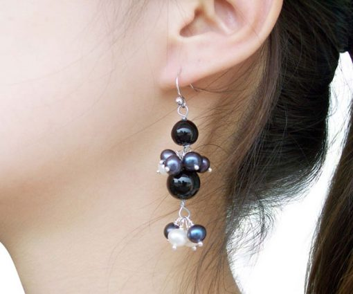 Black and white, Onyx and Pearl Earrings, 925 SS