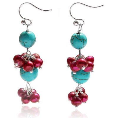 Cranberry Turquoise, Onyx and Pearl Earrings, 925 SS