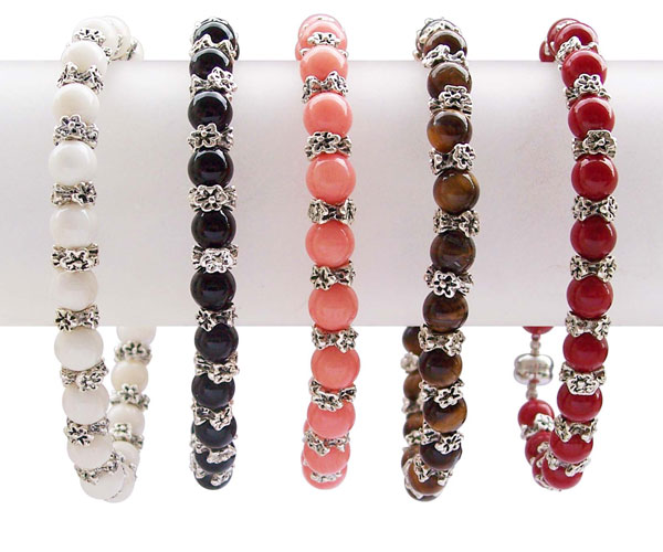 White, Black, Pink, Chocolate and Red 6mm Gem Stone Bracelet with Antiqued Pewter Beads, Magnetic Clasp