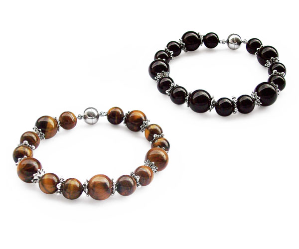 Tigers eye and Onyx 10mm and 12mm Bracelet with Magnetic Clasp