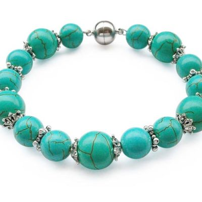 Turquoise 10mm and 12mm Bracelet with Magnetic Clasp