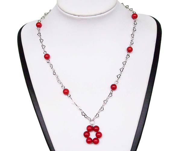 Red Genuine 7-8mm Coral Silver Necklace, 925 SS